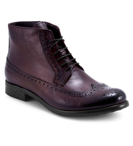 STIVALETTO STRINGATO IN PELLE BORDEAUX.
